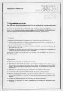 Tätigkeitsverzeichnis Holz- und Bautenschutz Seite 1